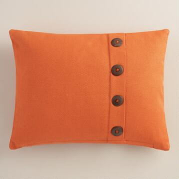 Orange Basket Weave Cotton Lumbar Pillow