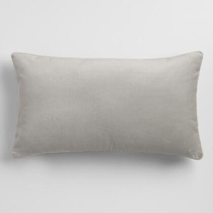 Mirage Gray Velvet Lumbar Pillow