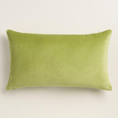 Peridot Green Velvet Lumbar Pillow