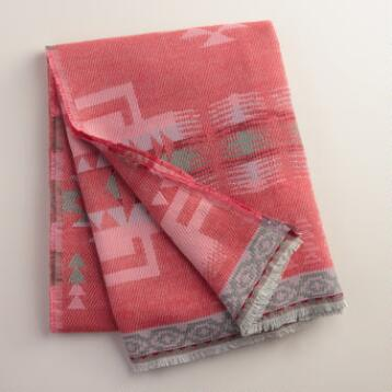Coral Tribal Throw with Fringe