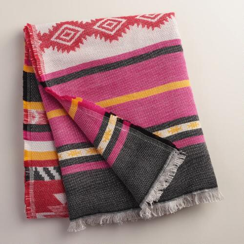 Raspberry Tribal Throw with Fringe