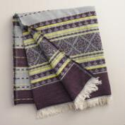 Indigo Stripe Throw with Fringe