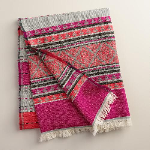Pink Stripe Throw with Fringe