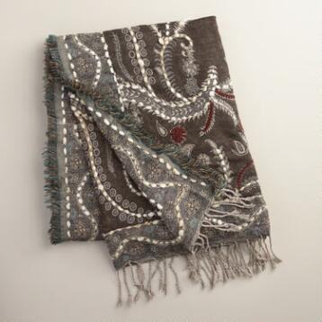 Gray Enchanted Garden Throw