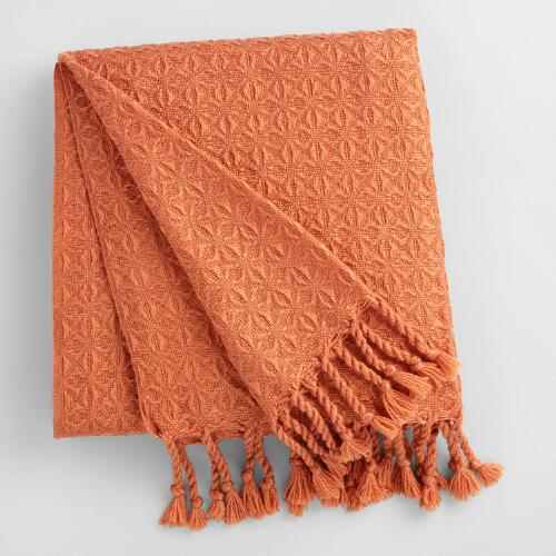 Orange Diamond Fringe Throw