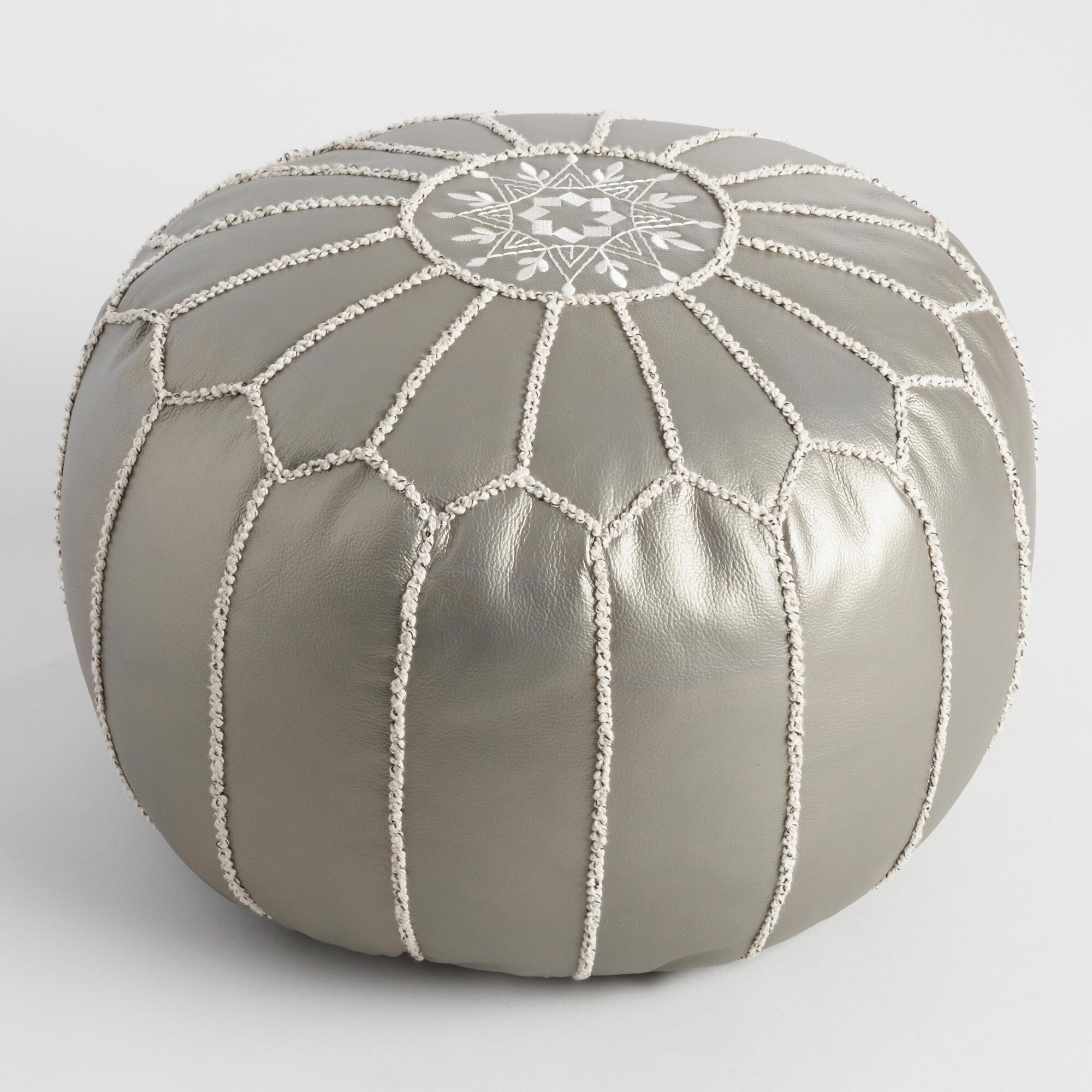 metallic embroidered leather pouf world market. Black Bedroom Furniture Sets. Home Design Ideas