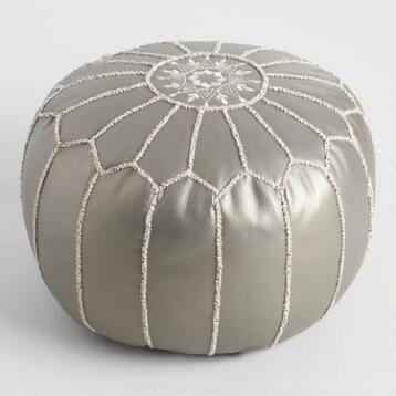 Metallic Embroidered Leather Pouf