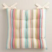 Multicolor Stripe Embroidered Chair Cushion
