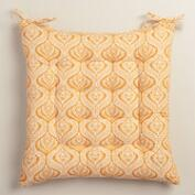 Yellow Lola Print Cotton Chair Cushion