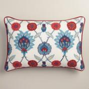 Embroidered Iznik Lumbar Pillow
