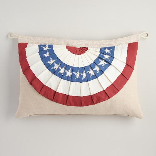 Oversized American Flag Bunting Lumbar Pillow