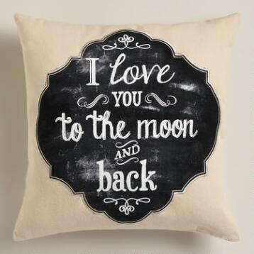 Moon Chalkboard Cotton Throw Pillow