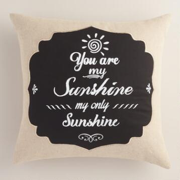 Sun Chalkboard Cotton Throw Pillow
