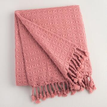 Rose Diamond Fringe Throw