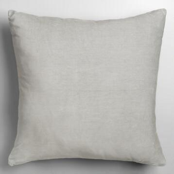 Mirage Gray Velvet Throw Pillow
