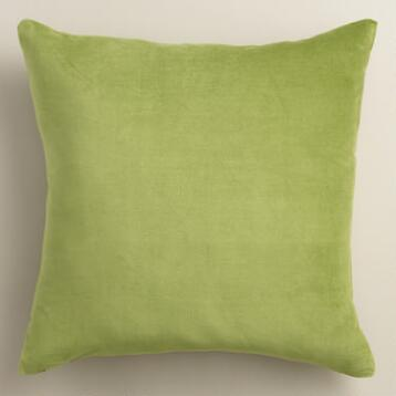 Peridot Green Velvet Throw Pillow