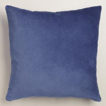 Twilight Blue Velvet Throw Pillow