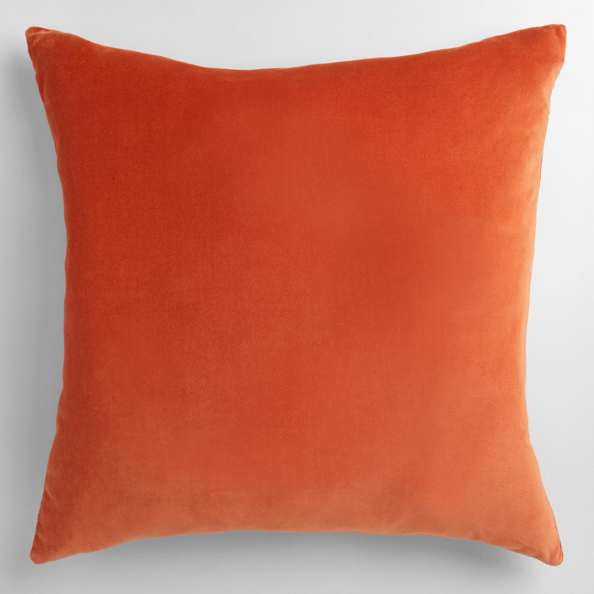 Orange Decorative Pillows Couch : Orange Velvet Throw Pillow World Market