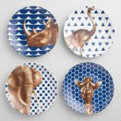 Geo Safari Animal Plates Set of 4