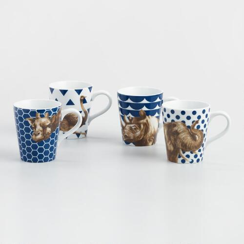 Geo Safari Animal Mugs, Set of 4