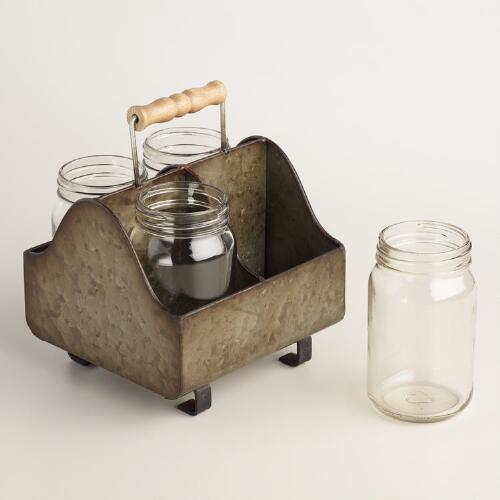 Zinc Metal Caddy with Glass Jars