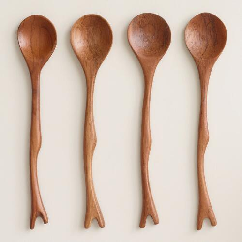Teak Wood Twig Cocktail Spoons Set of 4