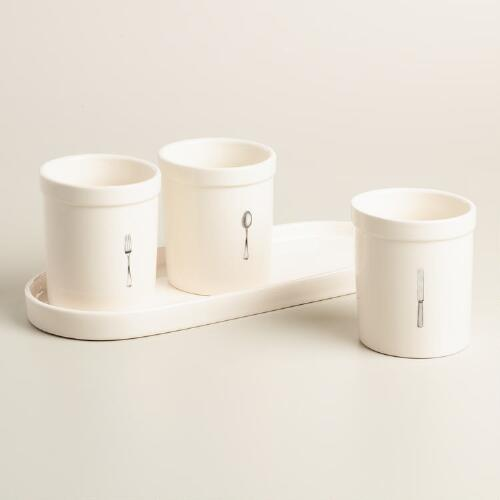 4 Piece Ceramic Flatware Caddy Set