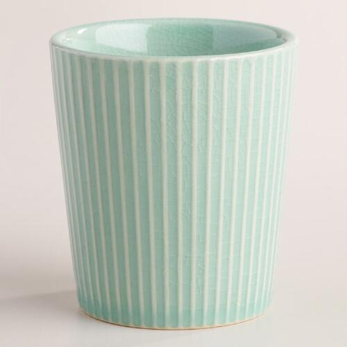 Aqua Ribbed Stoneware Teacups Set of 6
