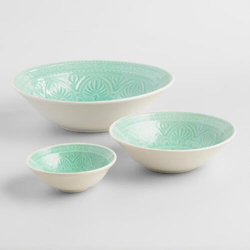 Aqua Embossed Bowl Collection