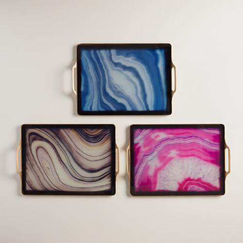 Faux Agate Rectangular Tray