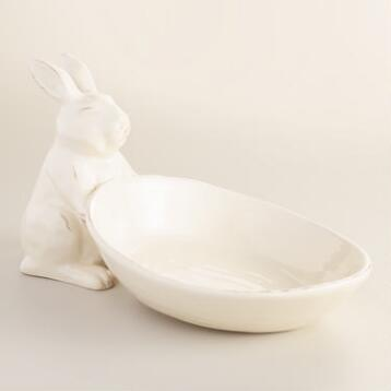 Ivory Distressed Bunny Serving Bowl