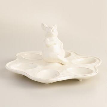 Ivory Distressed Bunny 6 Egg Platter
