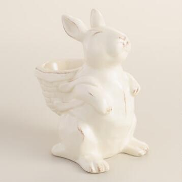 Ivory Distressed Bunny Egg Cups Set of 4