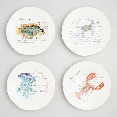 Italian Sealife Plates Set of 4