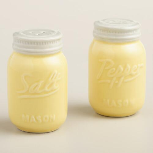 Yellow Mason Jar Salt and Pepper Shaker Set