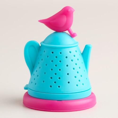 Teapot with Bird Silicone Tea Infuser