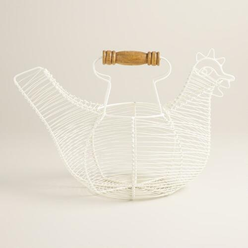 White Wire Chicken Egg Basket