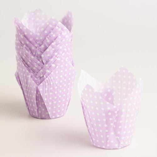 Lavender Polka Dot Patisserie Cupcake Liners 24 Count