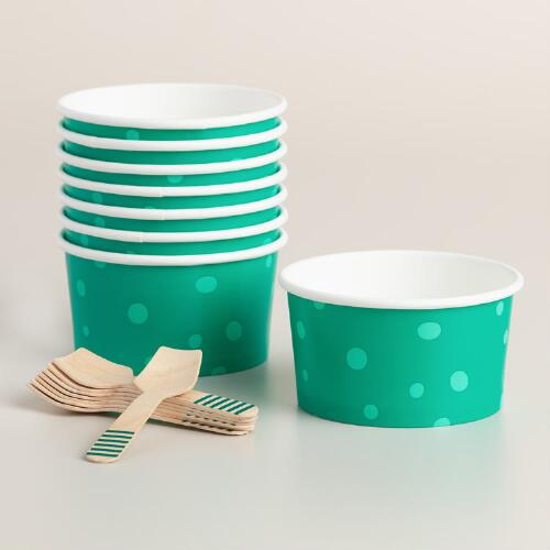 Polka Dot Paper Ice Cream Cups with Spoons 16 Piece