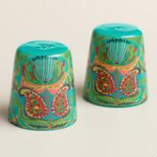 Santiago Print Enamelware Salt and Pepper Shaker Set