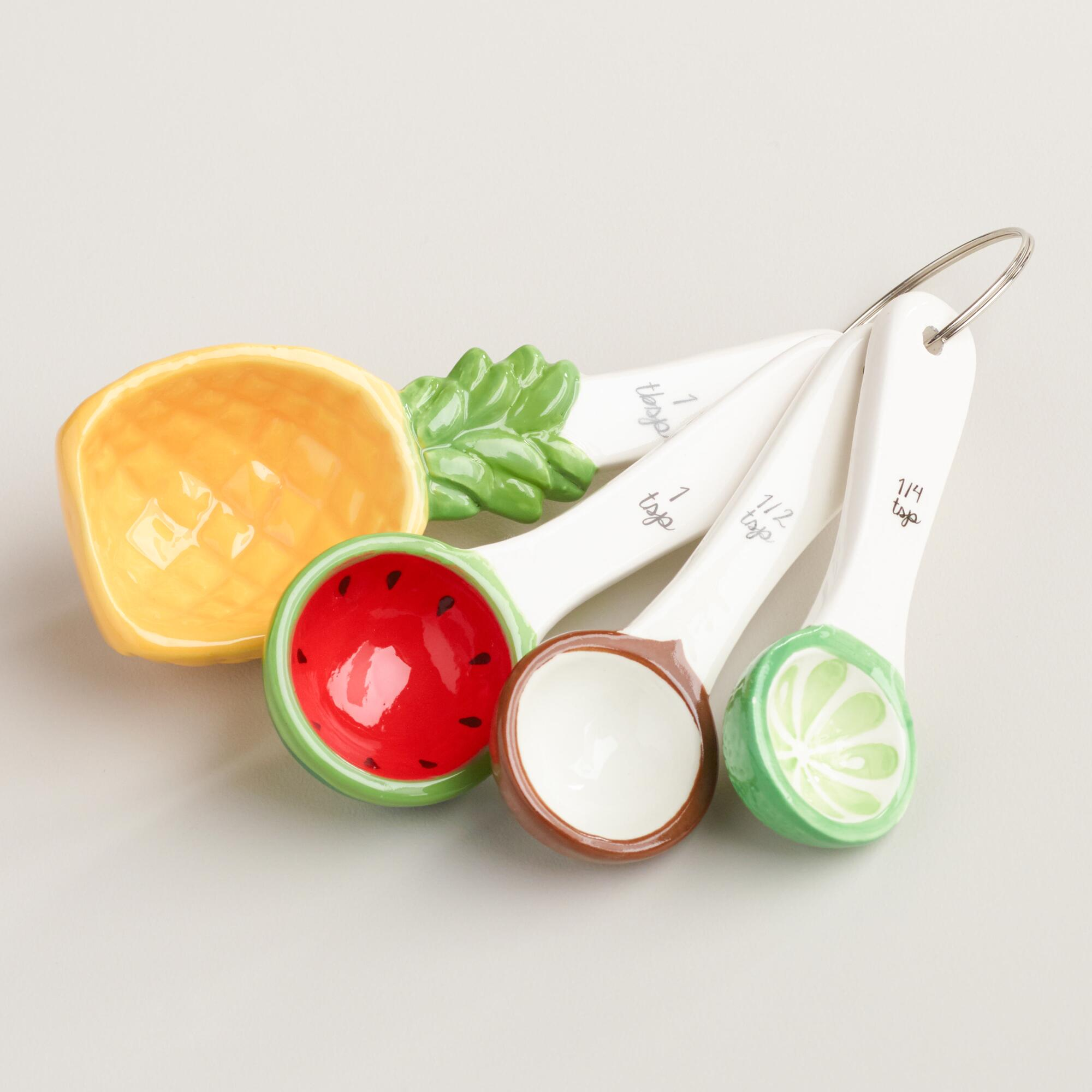 Tropical Fruit Ceramic Measuring Spoons World Market