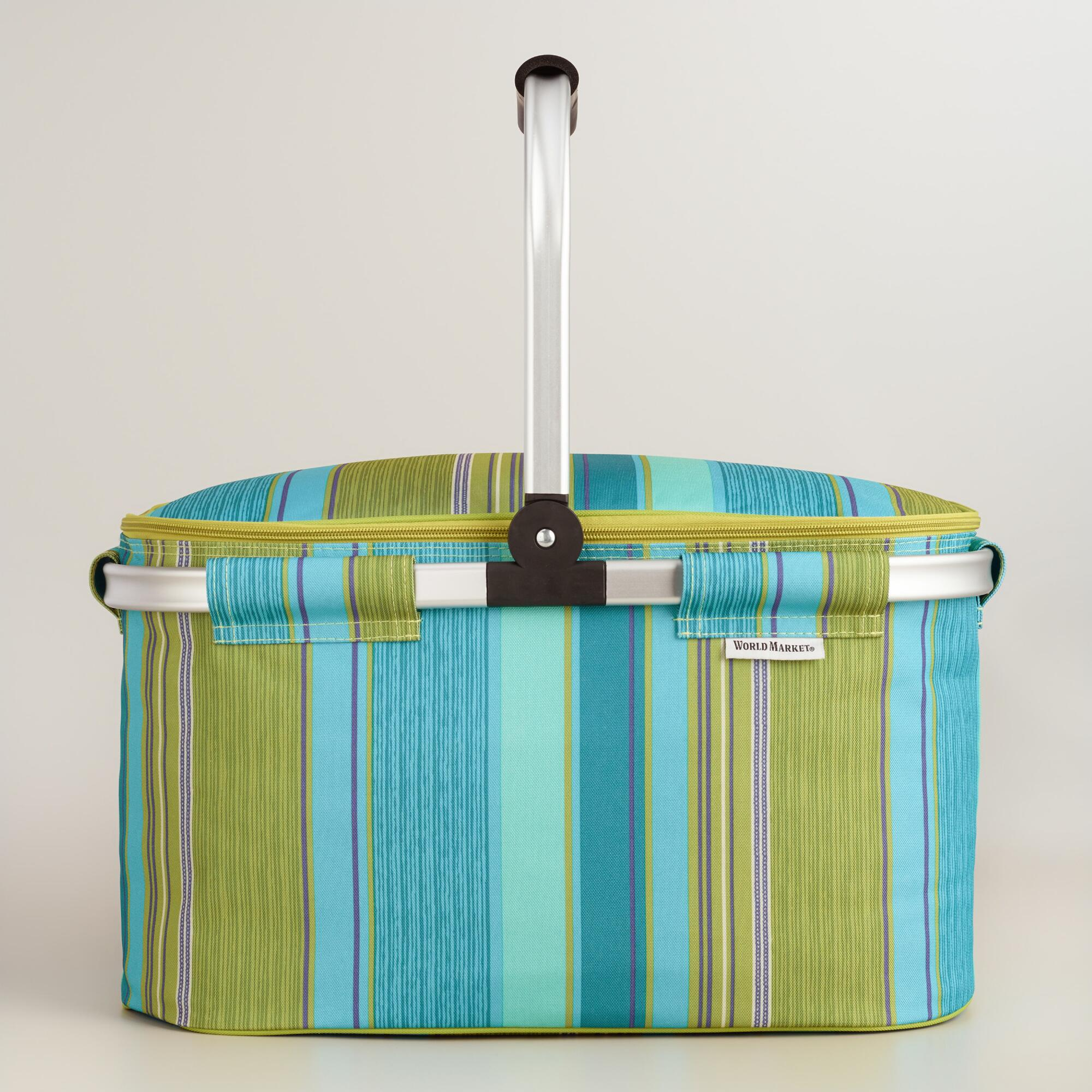 Collapsible Insulated Picnic Basket For 4 : Coastal modern insulated collapsible tote bag world market