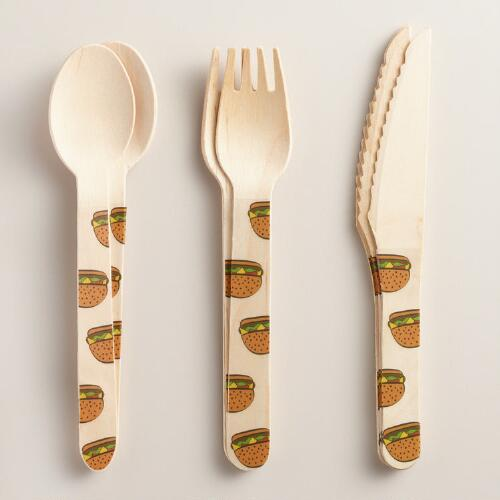 Hamburger Wood Cutlery Utensils 18 Piece