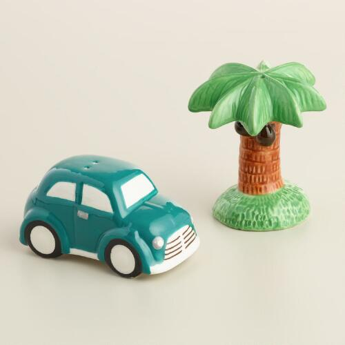 Car and Palm Tree Ceramic Salt and Pepper Shaker Set