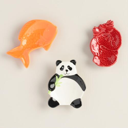 Panda Koi and Dragon Ceramic Tea Rests Set of 3