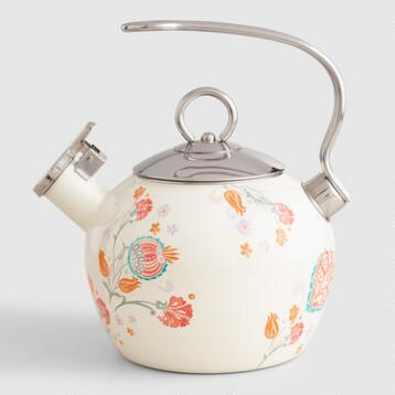 Floral Enamel on Steel Whistling Tea Kettle