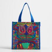 Mini Blue Santiago Paisley Insulated Tote Bag