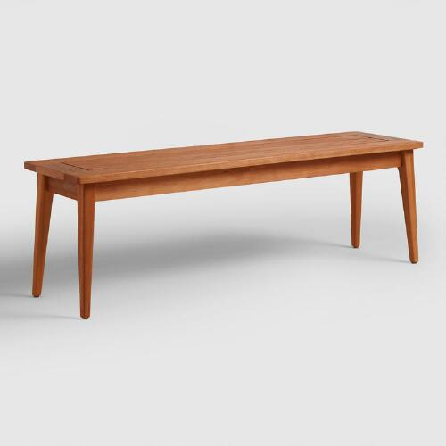 Wood Carmel Mid Century Style Dining Bench