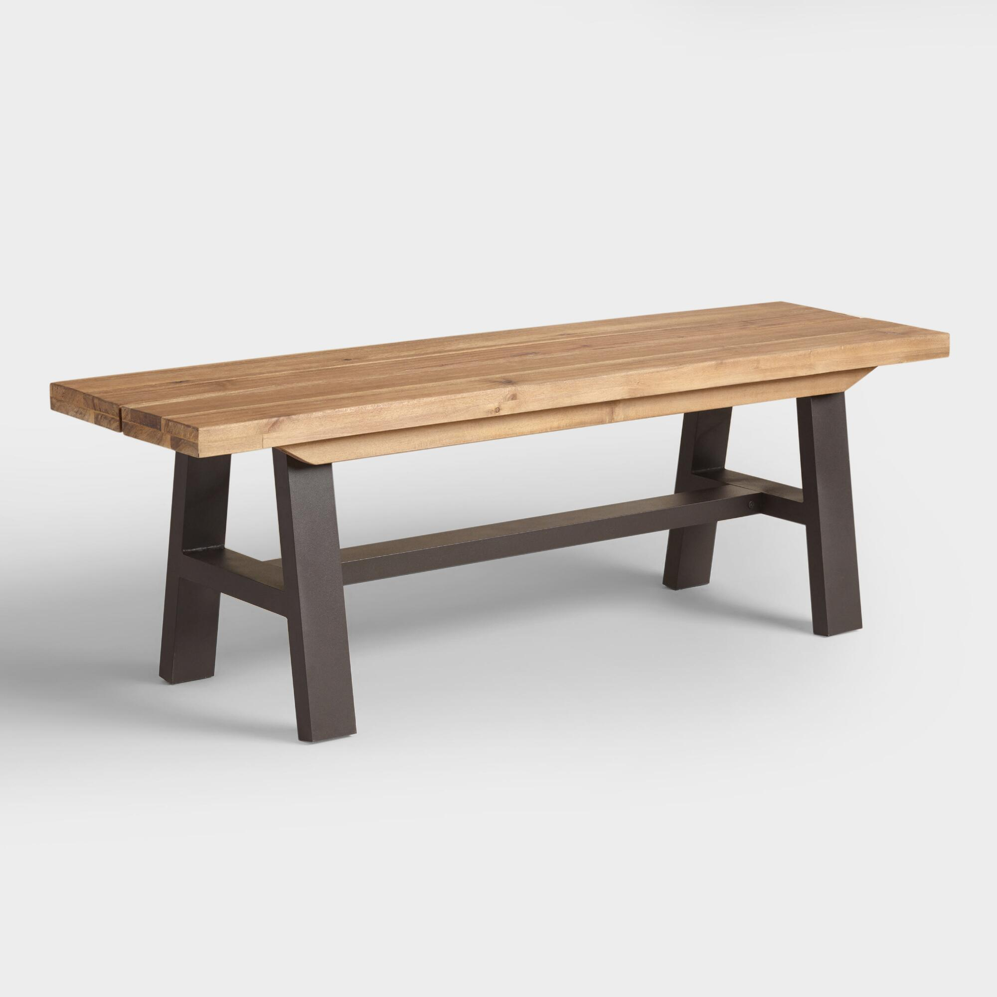 Wood and metal coronado a frame dining bench world market for Metal benches for outdoors