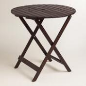 Round Espresso Wood Mika Folding Dining Table